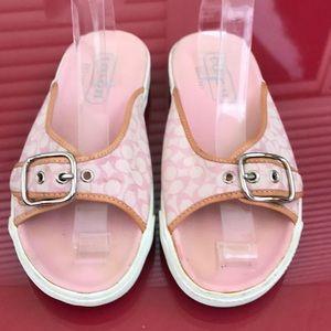 Coach Bonny pink canvas sandals
